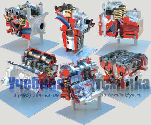 Комплект препарированных головок двигателя, представляющих разные типы ГРМ
